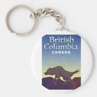 British Columbia Canada Wild Wolf poster Key Ring