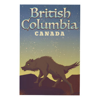 British Columbia Canada Wolf poster Wood Canvases