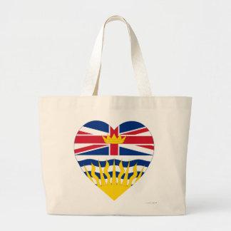 British Columbia Flag Heart Canvas Bags