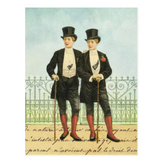 British Dandy Boys in Tops and Tails Postcard