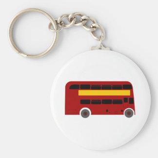 British Double-Decker Bus Basic Round Button Key Ring