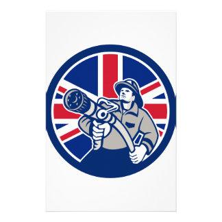 British Firefighter Union Jack Flag Icon Stationery