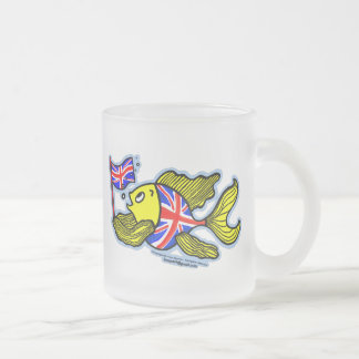British Fish with a Union Jack Flag Frosted Glass Mug