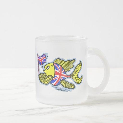 British Fish with a Union Jack Flag Mugs