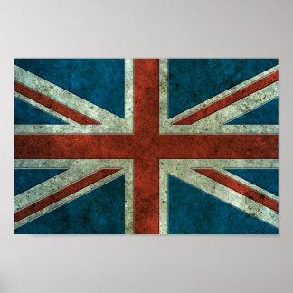 British Flag Aged Steel Effect Print