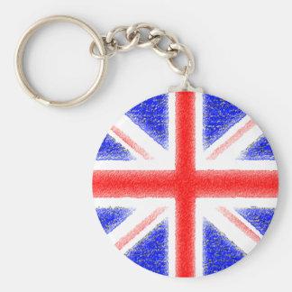 British Flag Basic Round Button Key Ring