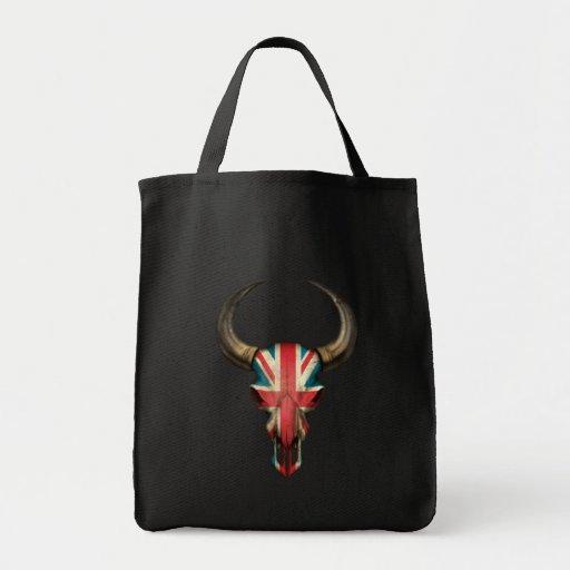 British Flag Bull Skull Tote Bags