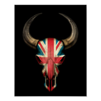 British Flag Bull Skull on Black Posters