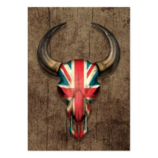 British Flag Bull Skull on Wood Effect Business Cards
