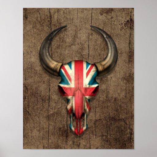 British Flag Bull Skull on Wood Effect Poster