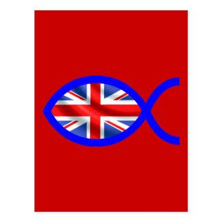 British Flag Christian Fish Symbol Postcard