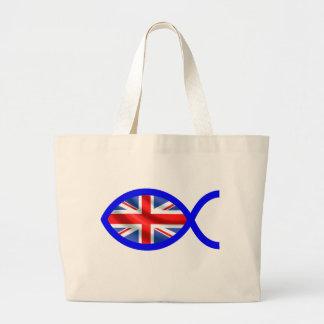 British Flag Christian Fish Symbol Jumbo Tote Bag