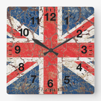 British Flag Distressed Clock