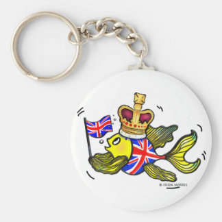 British Flag Fish wearing a crown funny cartoon Basic Round Button Key Ring