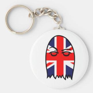 British Flag Ghostie Basic Round Button Key Ring