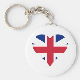 British Flag Heart Basic Round Button Key Ring