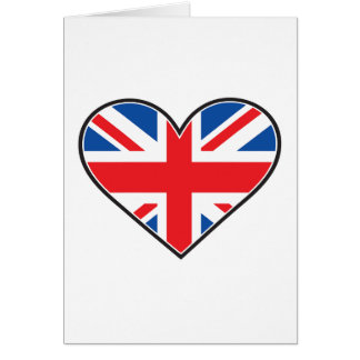 British Flag In A Heart Note Card