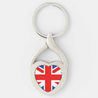 British Flag Keychain Silver-Colored Twisted Heart Key Ring