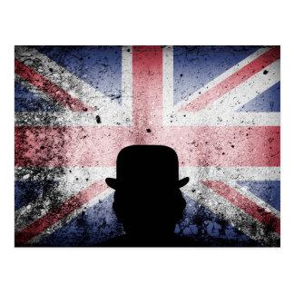 British flag on a grunge corrugated background. postcard