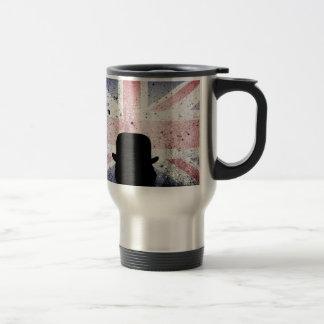 British flag on a grunge corrugated background. travel mug