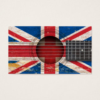 British Flag on Old Acoustic Guitar