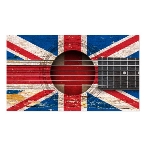 British Flag on Old Acoustic Guitar Business Card Templates