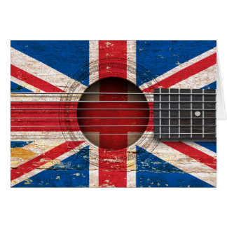 British Flag on Old Acoustic Guitar Cards