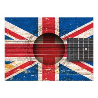 British Flag on Old Acoustic Guitar Custom Announcement