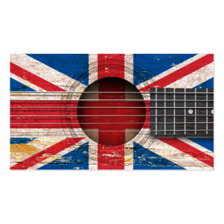 British Flag on Old Acoustic Guitar Pack Of Standard Business Cards