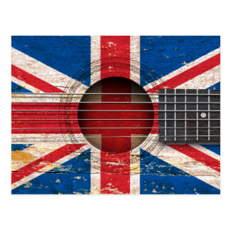 British Flag on Old Acoustic Guitar Post Cards
