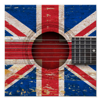British Flag on Old Acoustic Guitar Poster