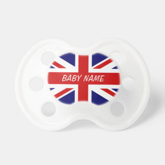 British flag pacifier | Union Jack with baby name