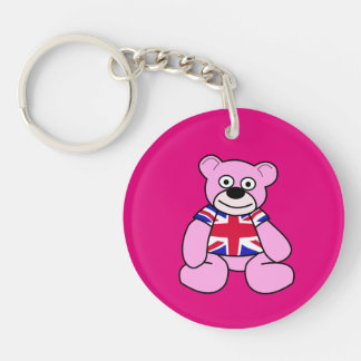 British Flag - Pink Teddy Bear Double-Sided Round Acrylic Key Ring