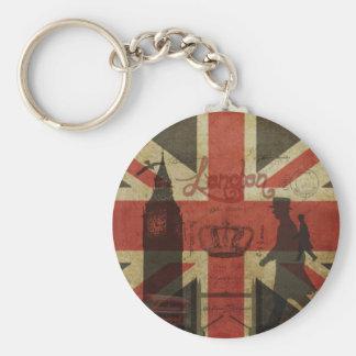 British Flag, Red Bus, Big Ben & Authors Key Chain