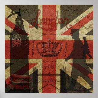 British Flag, Red Bus, Big Ben & Authors Print