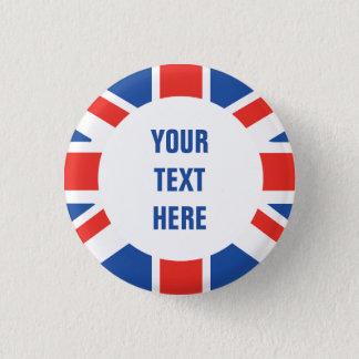 British Flag Round Border with custom text 3 Cm Round Badge