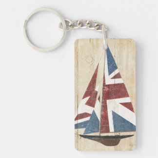 British Flag Sailboat Double-Sided Rectangular Acrylic Key Ring