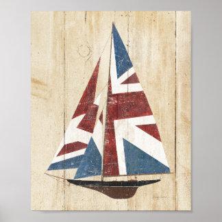 British Flag Sailboat Poster