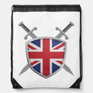 British Flag Shield on Drawstring Backpack
