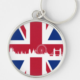 British Flag Silver-Colored Round Key Ring