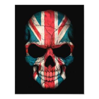 British Flag Skull on Black 11 Cm X 14 Cm Invitation Card