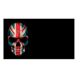 British Flag Skull on Black Business Cards