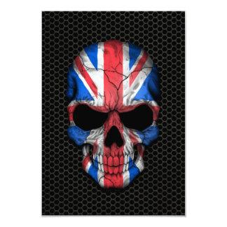 British Flag Skull on Steel Mesh Graphic 9 Cm X 13 Cm Invitation Card