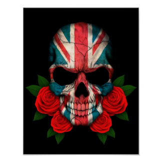 British Flag Skull with Red Roses Poster