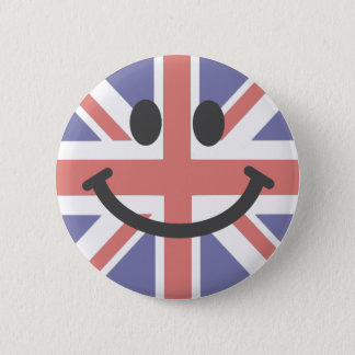 British Flag Smiley face 6 Cm Round Badge
