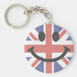 British Flag Smiley face Basic Round Button Key Ring
