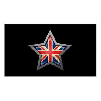 British Flag Star on Black Pack Of Standard Business Cards