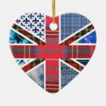 British Flag Tartan fabric pattern ornament
