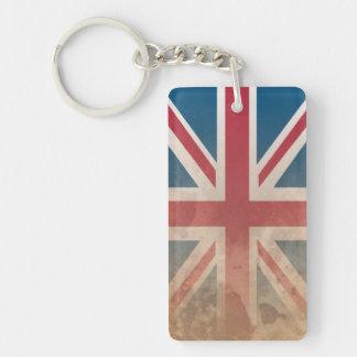 British Flag, (UK, Great Britain or England) Double-Sided Rectangular Acrylic Key Ring