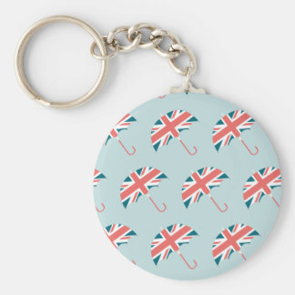 British Flag Umbrella Pattern Basic Round Button Key Ring